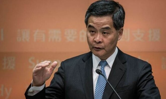 Le chef de l'exécutif Leung Cheng Ying dont les manifestants demandent la démission.