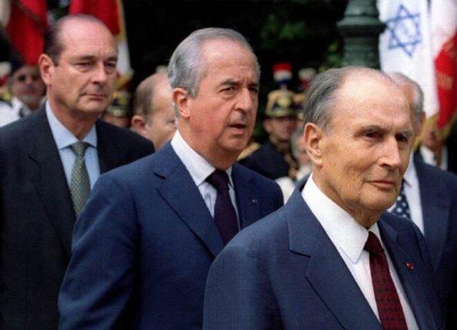 Jacques Chirac, Edouard Balladur et François Mitterrand, le 17 juillet 1994.