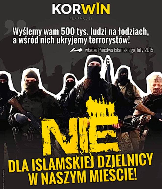 «Non aux quartiers islamiques dans nos villes», dit le slogan de cette affiche du KNP, formation d'extrême droite polonaise.