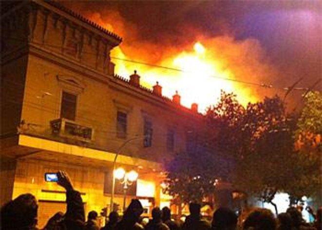 Athènes, centre-ville, dimanche soir.