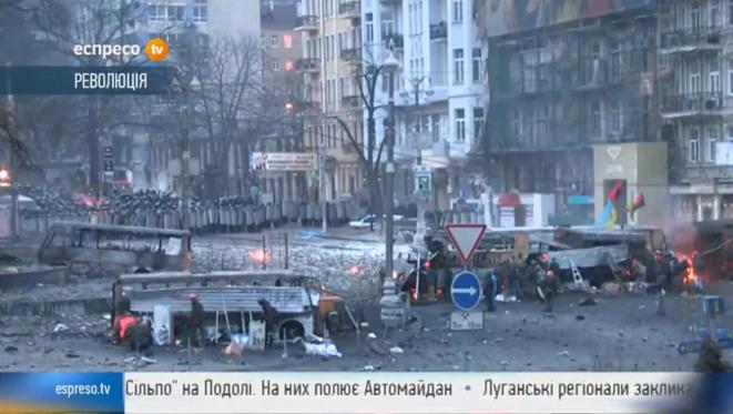 Capture d'écran de la télévision Espresso qui suit les événements de Kiev sous le titre «Révolution».