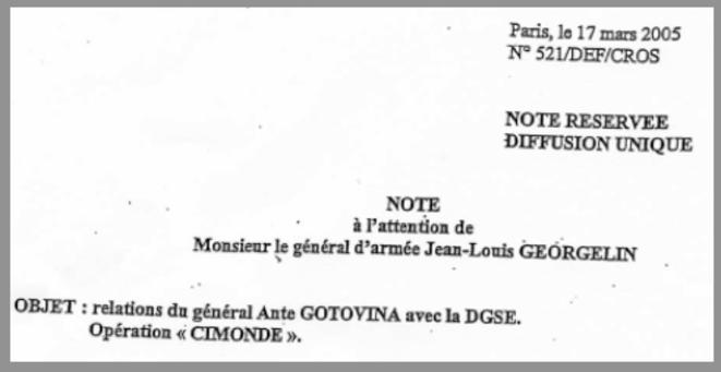 Note adressée le 17 mars 2005 au général Georgelin.