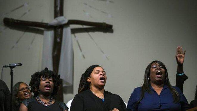Messe en hommage à Michael Brown dimanche 17 août à Ferguson.