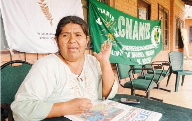 Justa Cabrera, présidente de la Confédération nationale de femmes indigènes de Bolivie, ralliée au MAS.