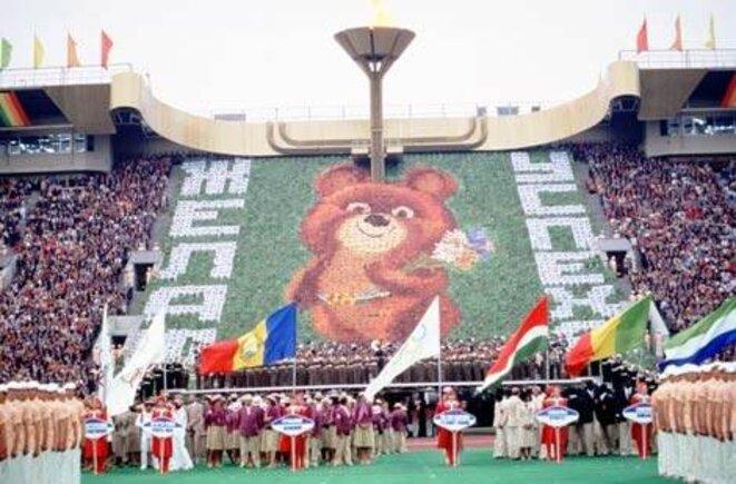Cérémonie d'ouverture des JO de Moscou, le 19 juillet 1980.