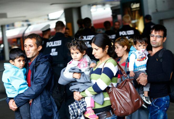 L'arrivée de réfugiés syriens, lundi matin 7 septembre, à la gare de Munich; © Reuters