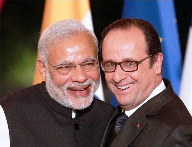 Le premier ministre indien Nerendra Modi et François Hollande, le 10 avril à l'Elysée. Un contrat de 36 avions Rafale à la clé. © Reuters