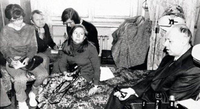 Conférence de presse en octobre 1975, dans l'appartement Bonner-Sakharov.
