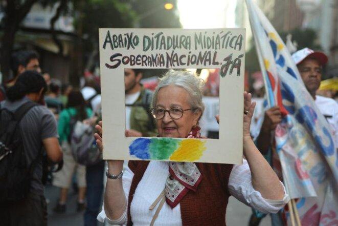 Manifestation contre TV Globo, jeudi 11 juillet. © Lamia Oualalou