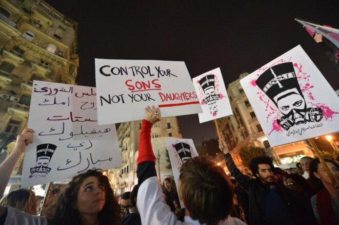Manifestation contre les violences sexuelles à l'encontre des femmes, au Caire le 12 février. © (dr)