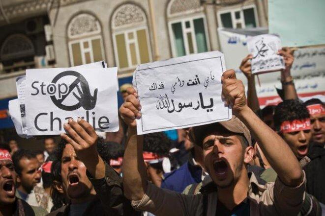 Manifestation, samedi 17 janvier, au Yémen à Sanaa contre «Charlie Hebdo». © (dr)
