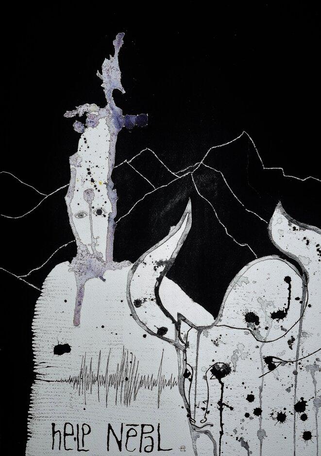 Collage et grattage. Encre, feutre et acrylique sur papier. 36 x 51 cm