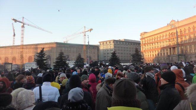 Au total plusieurs centaines de manifestants sont passés par -15°C à ce rassemblement. © CB.