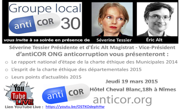 Soirée Anticor à Nîmes le jeudi 19 mars 2015
