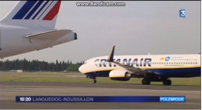 Compagnie Ryanair - Tarmac Aéroport de Montpellier © France3 Languedoc Roussillon