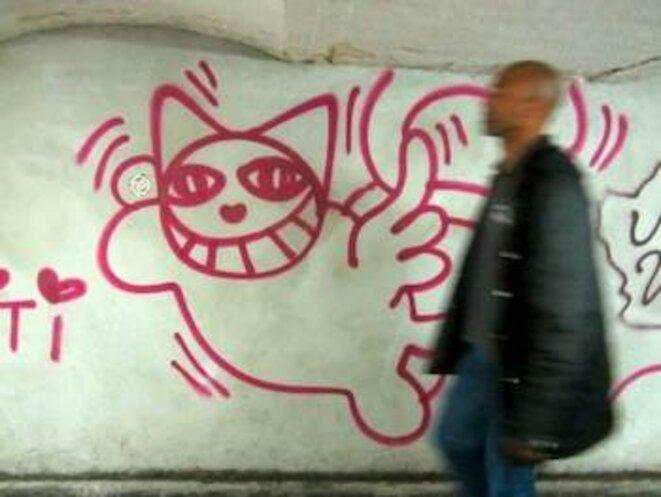Un chat beau vole au secours du laid couloir de la station Châtelet en travaux. © pol