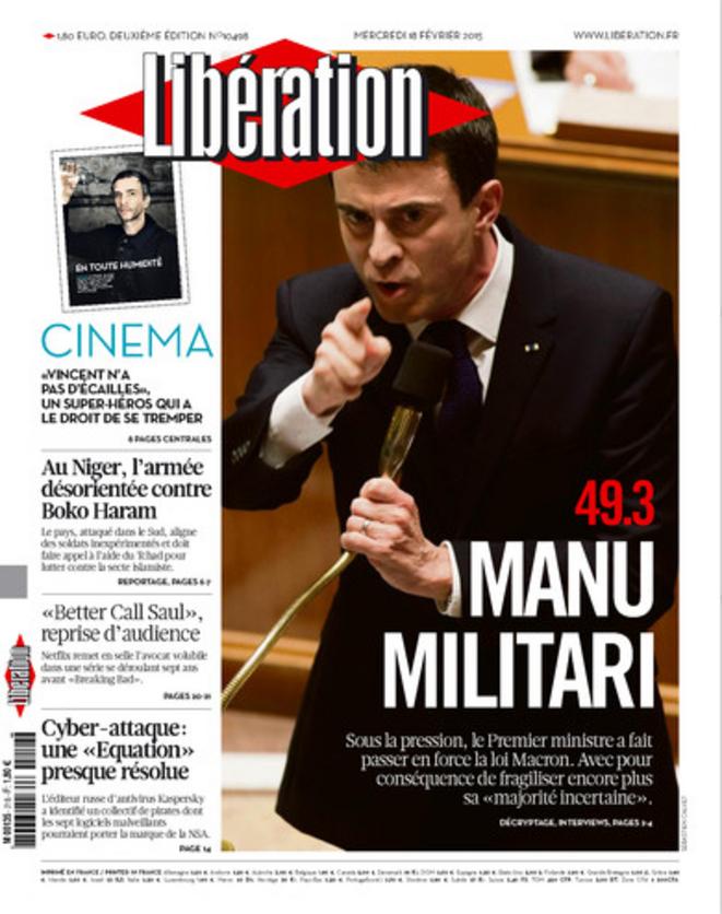 La une de Libération du 18 février 2015