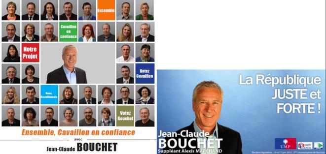 À gauche, l'affiche de Jean-Claude Bouchet aux municipales en mars. À droite lors des législatives de 2012.