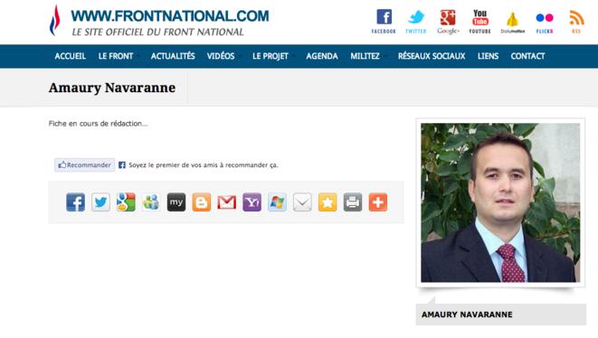 La fiche d'Amaury Navaranne, membre du comité central du FN. © Site du Front national.
