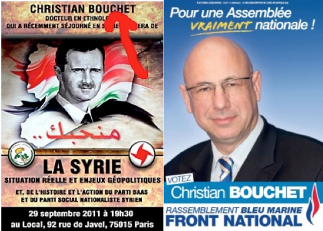 L'affiche annonçant la venue de Christian Bouchet au Local en 2011 et son affiche de candidat FN aux législatives de 2012.