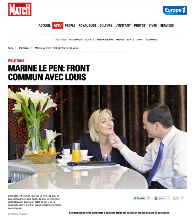 L'article paru dans Paris Match (février 2012).