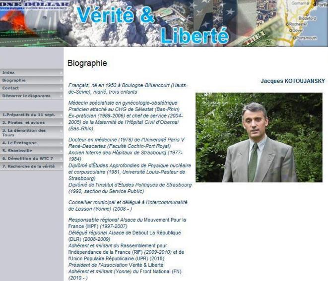 """Le site """"Vérité & Liberté"""". Depuis la mention du FN a été retirée et Kotoujansky a adopté un pseudonyme."""