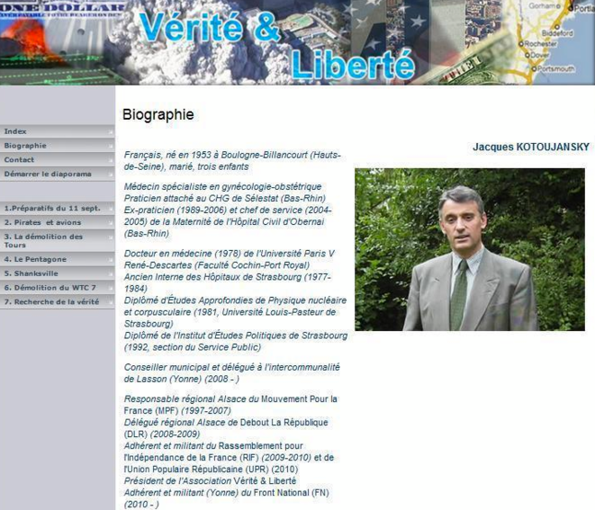 """Le site """"Vérité & Liberté"""". Depuis la mention du FN a été retirée et Kotoujansky a adopté un pseudonyme. © conspiracywatch.info"""