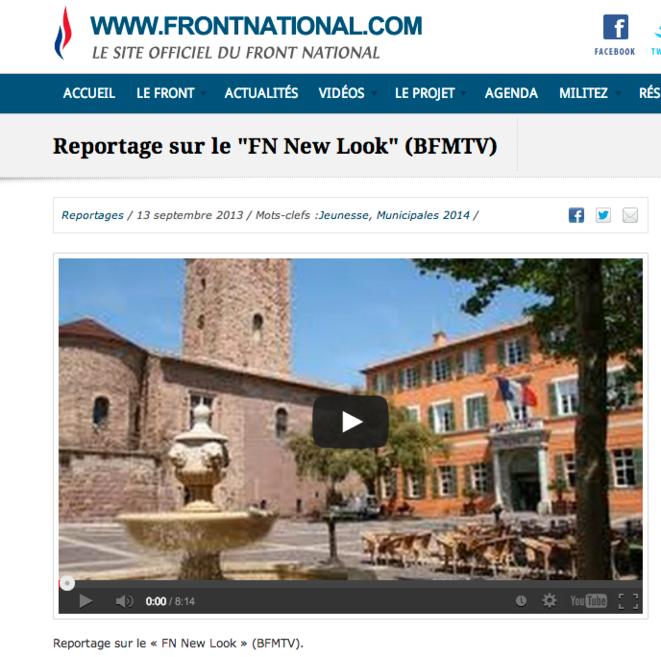 Reportage de BFM-TV relayé sur le site officiel du FN.