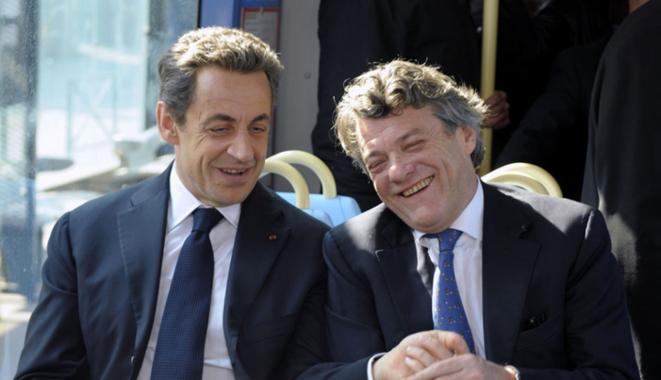 Nicolas Sarkozy et Jean-Louis Borloo à Valenciennes, le 23 mars 2012, pendant la campagne présidentielle. © Reuters