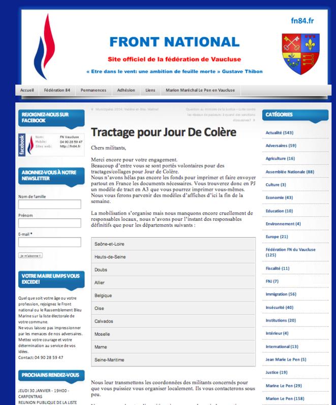 Billet du 18 décembre 2013 sur le site du FN du Vaucluse.