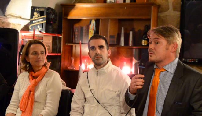 Béatrice Bourges (à gauche) et Frédéric Pichon (à droite) lors d'un débat avec Nouvel Arbitre en octobre 2013.