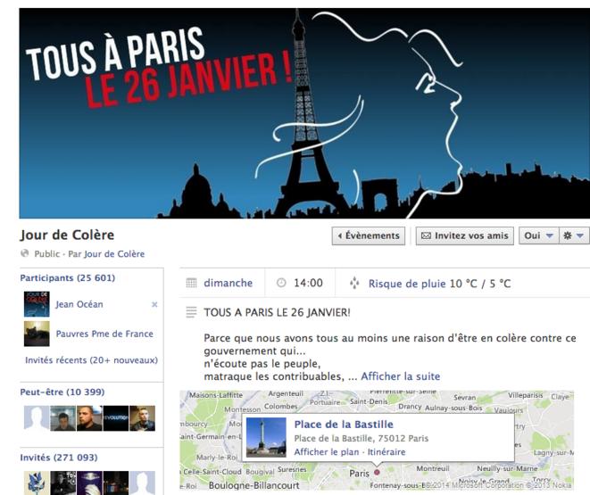 La page de l'événement de «Jour de colère».