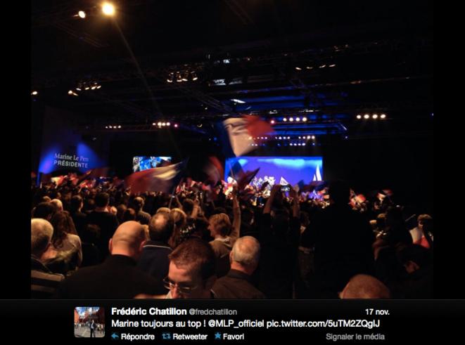 Photo postée sur le compte Twitter de F. Chatillon, lors du lancement de la campagne des municipales du FN, le 17 novembre 2013