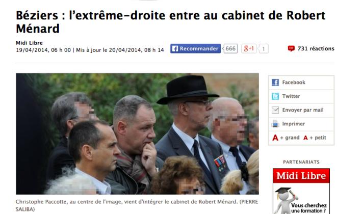 Christophe Paccotte, au centre de l'image, devenu chef de cabinet de Robert Ménard. © Capture d'écran de l'article de Midi Libre.