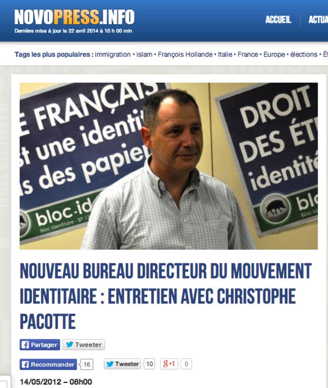 L'entretien de Christophe Pacotte à Novopress en mai 2012, à son arrivée dans le bureau directeur du Bloc identitaire. © Capture d'écran Novopress