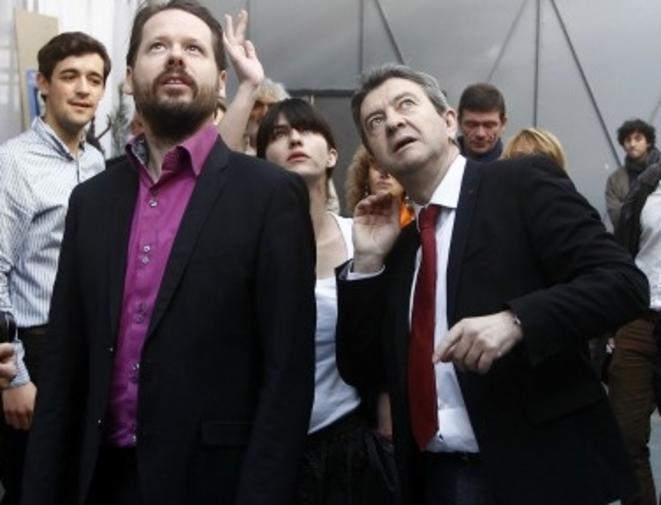 Jean-Luc Mélenchon et François Delapierre, secrétaire national du parti de gauche, et son assistant accrédité à Bruxelles.