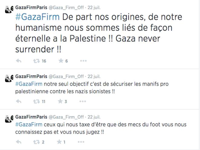 """Tweets du compte présenté comme """"officiel"""" de Gaza Firm, le 22 juillet 2014."""