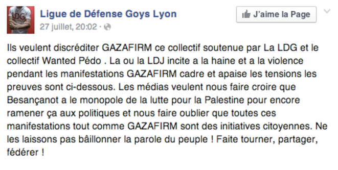 Post du 27 juillet, relayant une mise au point de Mathias Cardet, figure de la Gaza Firm, sur Facebook.
