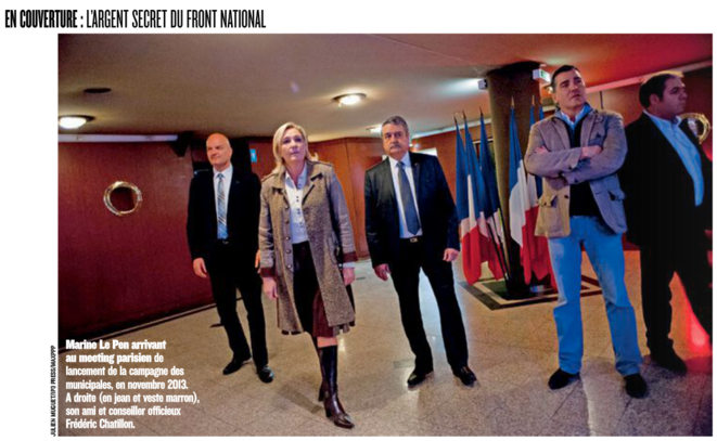 Marine Le Pen avec Frédéric Chatillon et Axel Loustau (à droite), en novembre 2013, à Paris. Dossier Figaro Magazine (mai 2014).