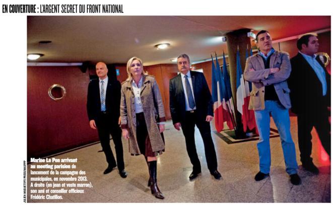 Marine Le Pen avec Frédéric Chatillon et Axel Loustau (à droite), en novembre 2013, à Paris. Dossier Figaro Magazine (mai 2014). © Julien Muguet / IP3 Press / MaxPPP