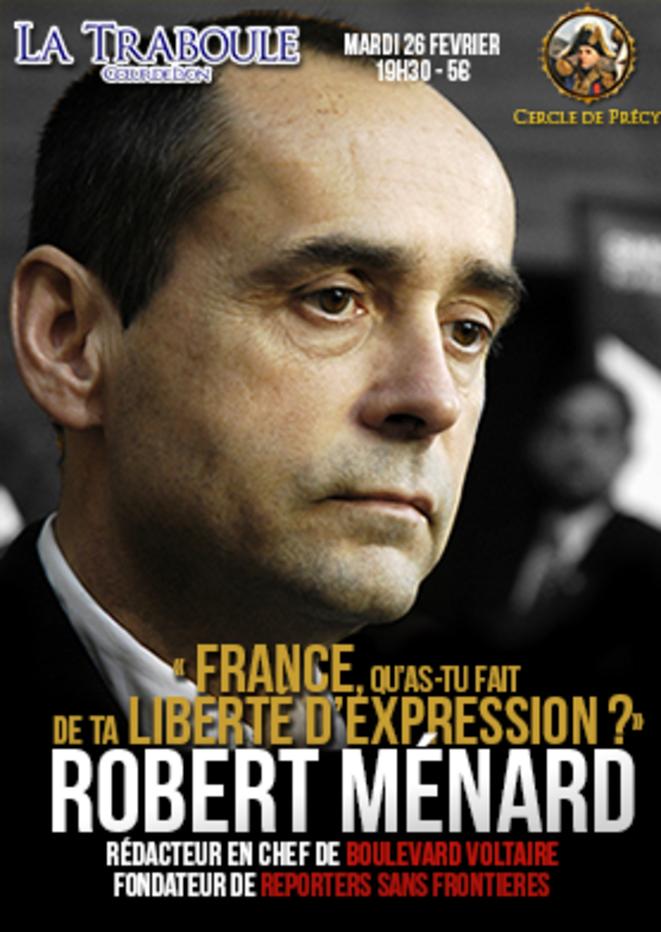 L'affiche de la venue de R. Ménard à la Traboule à Lyon.