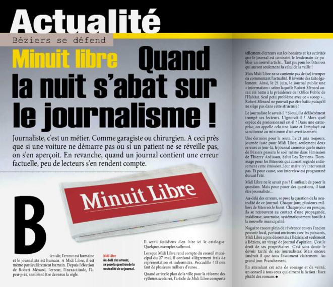 L'article attaquant Midi-Libre dans le journal municipal.