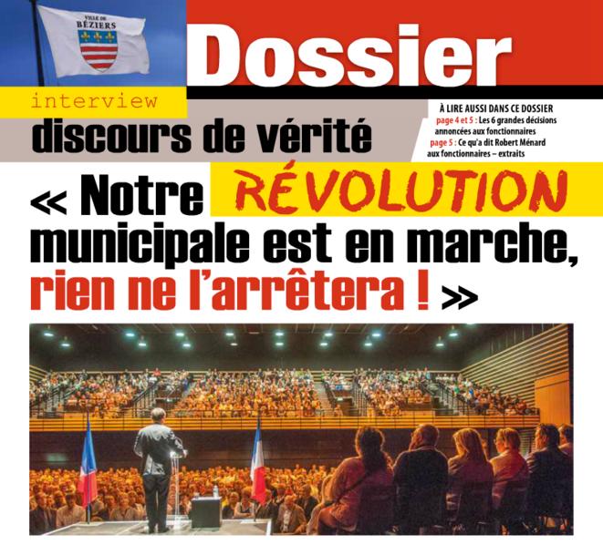 Dans le Journal municipal, Robert Ménard présente sa réunion des agents comme « une première dans l'histoire de Béziers ».