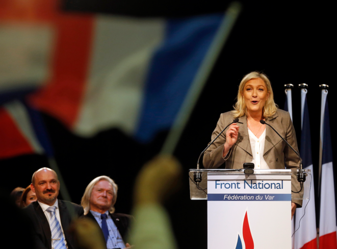 Marine Le Pen lors de son meeting à Six-Fours-les-Plages (Var), le 16 mars 2015. © Reuters
