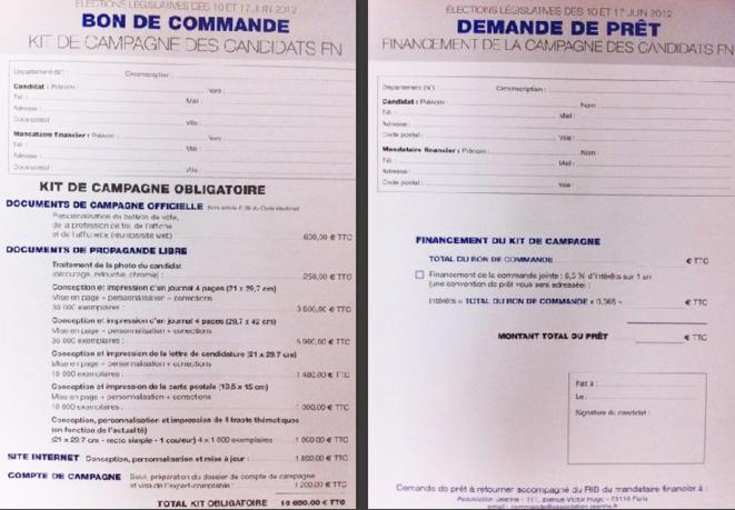 Le kit de campagne lors des élections législatives de 2012.