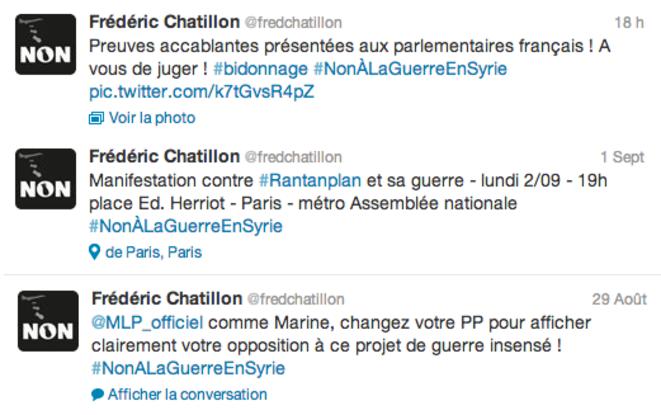 Trois des nombreux tweets de Frédéric Chatillon contre l'intervention en Syrie. © Twitter / Frédéric Chatillon