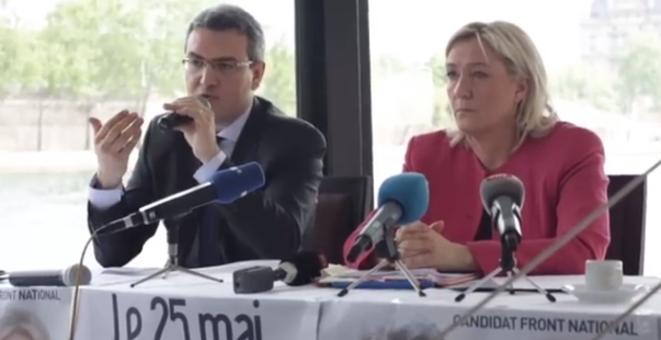Marine Le Pen décroche les millions russes + Le salut fasciste de l'argentier de Marine Le Pen + Au FN, rien ne change + Front National : l'insulte aux Lyonnais (Parti de Gauche) + Discours social du Front National : la grande escroquerie (Humanité) Chauprade_Le_Pen_24_avril