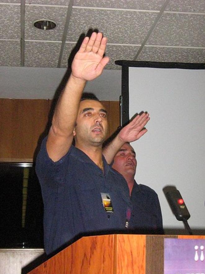 Manuel Andrino, le leader de la Phalange, organisation fasciste espagnole.