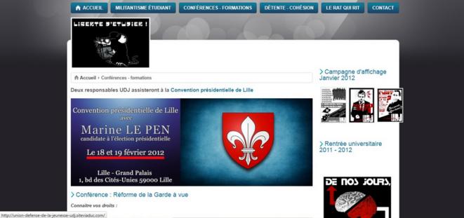 """La présence d'Edouard Klein et Baptiste Coquelle à la convention du FN est annoncée sur le site de l'UDJ. © Capture d'écran du site de l'UDJ sur le blog du Monde """"Droites extrêmes""""."""