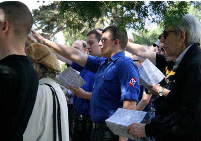 Alexandre Gabriac à une célébration de Mussolini en Italie, en avril 2012. © Fafwatch
